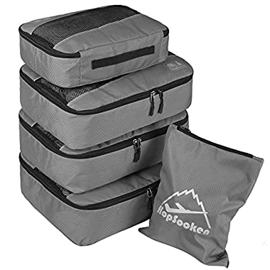 5pc Packing Cubes Set Large Travel Luggage Organizer 4 Cubes 1 Laundry Pouch Bag (Gray)