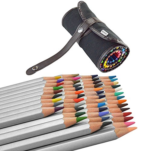 (48 Colored Pencils +1 Pencil Wrap)Ipow Assorted Color Marco Raffine Drawing Art Supplies with Roll UP Washable Canvas Pencil Bag Pouch Set for Artist Sketch, 2 Direction Buckle for Different Usage (Colored Buckle)
