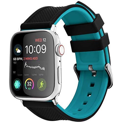 Fullmosa Silicone Compatible Rainbow Soft Rubber iWatch Band with Stainless Steel Buckle for Apple Watch 5/4/3/2/1, 40/38 mm, Black Top/Blue Bottom