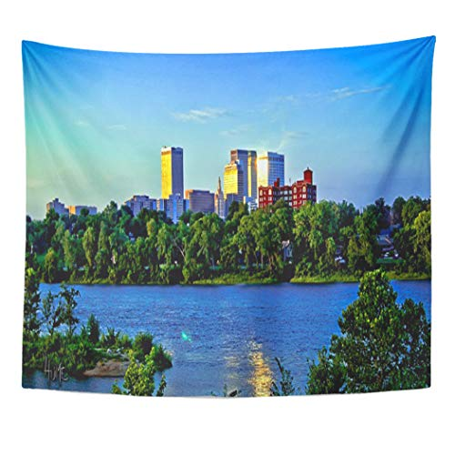 Semtomn Tapestry Artwork Wall Hanging Cities City Skyline Across River Cityscape Reflection HDR Water 50x60 Inches Tapestries Mattress Tablecloth Curtain Home Decor Print]()
