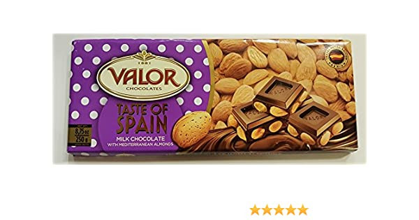 Amazon.com : Valor Chocolates - Taste of Spain Premium Edition 8.75 Oz (Milk Chocolate with Mediterranean Almonds) : Grocery & Gourmet Food