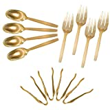 Gold Disposable Plastic Serving Utensils - Four 9 Inch Forks, Four 9 Inch Spoons and Four 6 1/2 Inch Serving Tongs