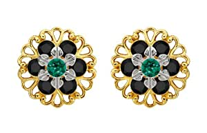 Lucia Costin Plata, Negro, Verde Swarovski Crystal Pendientes, Cute ornamented