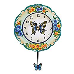 Collections Etc Vintage Spring Butterfly and Flowers Hand-Painted Pendulum Clock, Blue