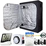 PrimeGarden 60''x32''x80'' Grow Tent Kit Indoor Plant Grow Tent Room + 24 Hour Timer + 60mm Bonsai Straight Scissors + Digital Hygrometer Thermometer + Trellis Nets +1 Pair of Rope Hangers