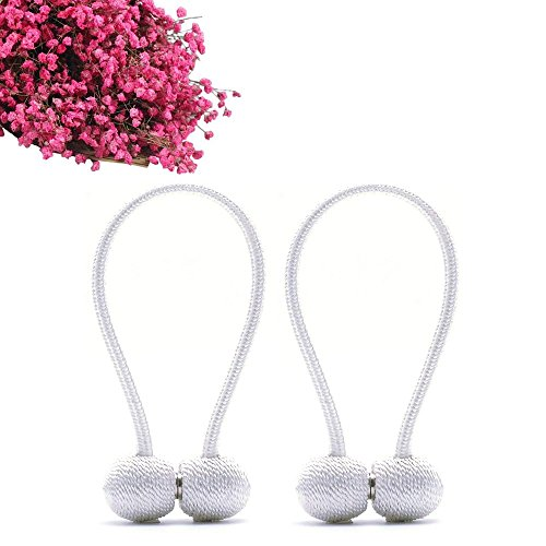 Aukuzi Magnetic Curtain Tiebacks, Creative Hand Knitting Curtain Rope Holdbacks, Holder for Window Sheer support, Classic European Style Strong Magnetic Clasp for Home Décor - Set of 2 (White) by Aukuzi (Image #2)