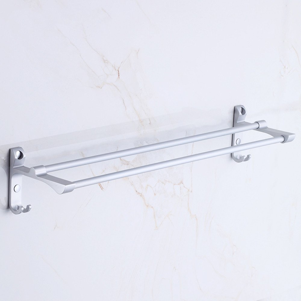 JIAHENGY Aluminum Punch-free space suction-hook double bar 60cm thick Metal Hanger Bathroom Wall Mounted kitchen toilet