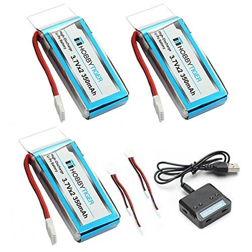 HOBBYTIGER-for-UDI-U818A-WiFi-FPV-Drone-U845-350mah-Battery-3Pack-2in1-USB-Charger