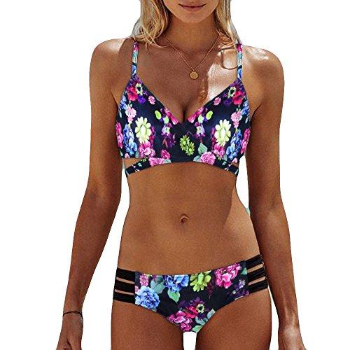 Bikini for Women High Waisted Swimsuits Tummy Control Two Piece Tankini Ruffled Top with Swim Bottom Bathing - Quality High Piece Two