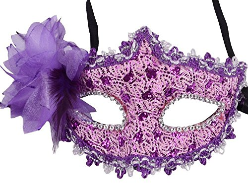[HOVEOX Lace Mask Women's Flower Party Masquerade Eyemask Purple] (Party City Costume Fashion Masks Masquerade)