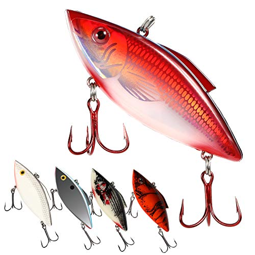 Magreel Lipless Crankbaits, VIB Rattle Trap Lures Hard Fishing Bait with Mustad Treble Hooks& Tackle Box for Saltwater Freshwater Bass Trout etc. (Pack of ()