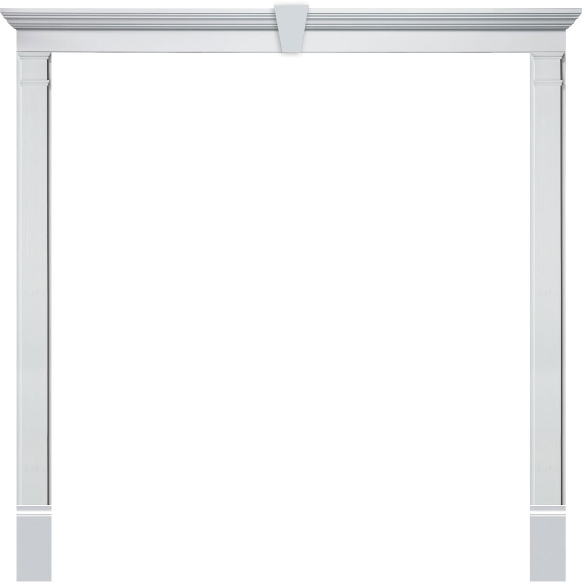 Fypon DSKCRT3068 Single Door Surround Kit with 50''W x 4 1/2''H Crosshead with Keystone & 5 1/4''W Plain Pilasters, White