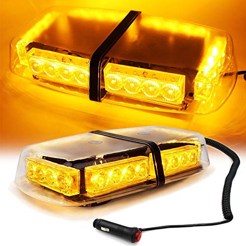 FOXCID Amber/Yellow 240 LED Roof Top Mini Bar, Truck Car Vehicle Law Enforcement Emergency Hazard Beacon Caution Warning Snow Plow Safety Flashing Strobe Light with Magnetic Base ()