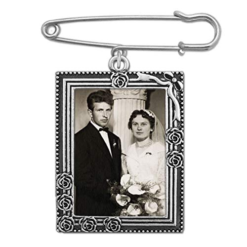 (Wedding Boutonniere Bouquet Charm Pin Rose Portrait Frame Photo Charm Mother of The Bride Groom with Photo Resizing Software)