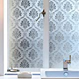 Soqool Damask Window Film Decorative Window Cling Film for Window Decor Privacy Glass Film 17.7'' by 78.7'', No Glue Vinyl Film Remove/Reuseable