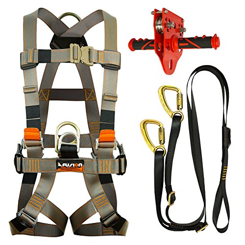Fusion Climb Pro Backyard Zip Line Kit Harness Lanyard Trolley Bundle FK-A-HLT-36