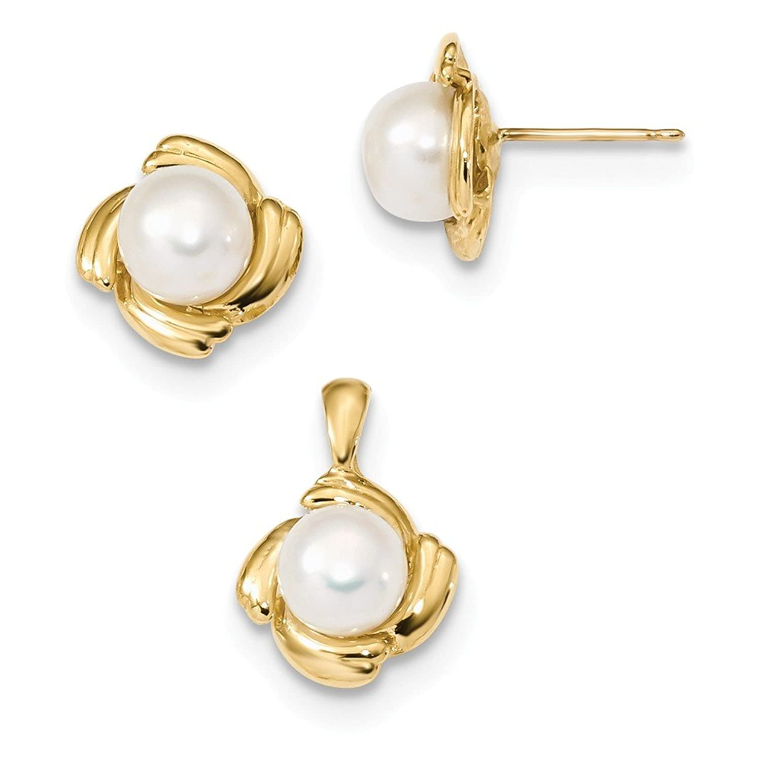 14k 6-7mm White Button FWC Pearl Earring and Pendant Set