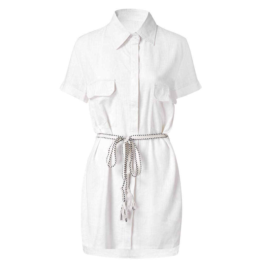 Huazi2 Women White Short Sleeve Button Up Office Shirt Pockets Mini Dress