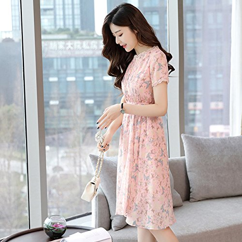 Pink Floral Dress Un Shirt ZHUDJ Line Mujer T A Verano Chiffon OYx6fv