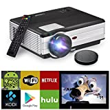 HD LCD Wireless WiFi Video Projector Smart Android OS, Support 1080P Airplay Screen Mirror Apps Google Player HDMI USB, 3500lumens Home Theatre Projector Outdoor  Entertainment, inbuilt 10W Speaker
