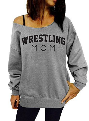 Wrestling Mom Slouchy Sweatshirt - XX-Large Gray Black Ink by Dentz Design