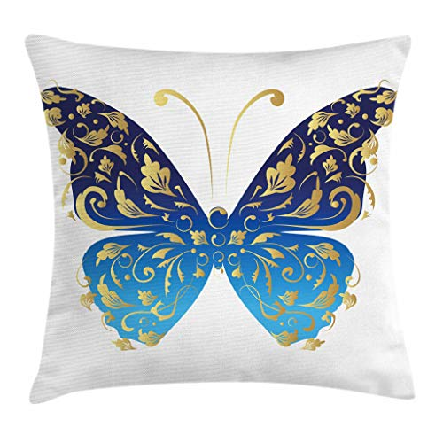 Ambesonne Animal Throw Pillow Cushion Cover, Blue Butterfly Figure Embellished with Wavy Artistic Leaves Graphic, Decorative Square Accent Pillow Case, 16 X 16 Inches, Light Blue Dark Blue Gold ()