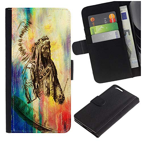 (Colorful Pattern Flip Wallet Leather Holster Protective Skin Case for Samsung Galaxy S7 Edge (NOT for S7)/ S7 Edge Duos/G930 (Native American Indian Foreman with Feather)