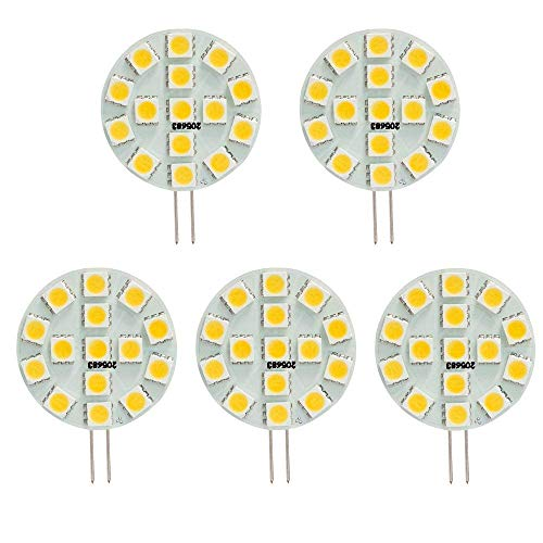 HERO-LED SG4-15T-DW Side Pin G4 LED Disc Halogen Replacement Bulb, 3W, 30W Equal, Daylight White 5000K, 5-Pack(Not Dimmable)