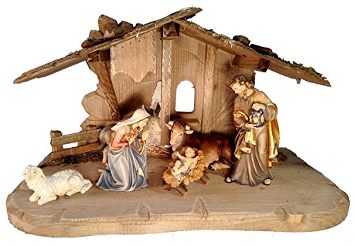 8 Piece PEMA Nativity Set 5 in. Scale, Italian Hand Carved Wood by PEMA Nativity