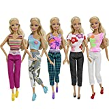 ZITA ELEMENT 10 Pcs Doll Clothes Outfits Sets for Barbie   Handmade Blouse Top, Fashion Pants Trousers Bottom   Best Premium & Reward Gift for Girls
