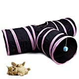 LNGRY Pet Cat Tunnel - Collapsible 3 Way Play Toy - Tube Fun for Rabbits, Kittens, and Dogs
