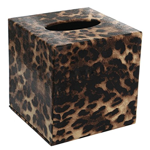 SODIAL(R) Durable Room Car PU Leather Square Tissue Box Paper Holder Case Cover Napkin Color:Leopard,Size: 13.8 13.8 13cm