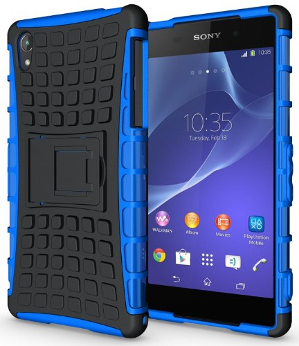 NAKEDCELLPHONE BLUE GRENADE GRIP RUGGED TPU SKIN HARD CASE COVER STAND FOR SONY XPERIA Z2 PHONE / D6503 / L50W