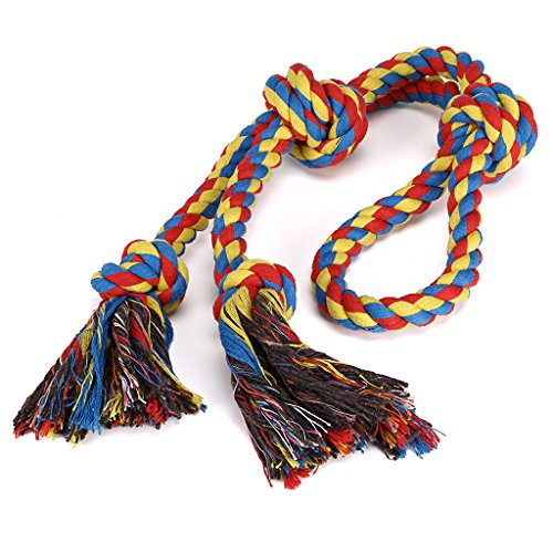 Hipiwe 4 Knots Cotton Dog Rope Tug Toys For Aggressive Chewers Heavy Duty Gaint Pull Braided Woven Rope Toy for Large Dogs (Toy Rope Tug)