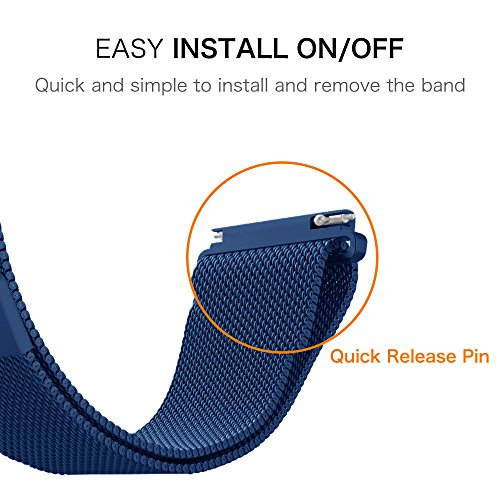 Gear Sport / Gear S2 Classic Watch Band, Fintie 20mm Milanese Loop Adjustable Stainless Steel Replacement Strap Bands for Samsung Gear Sport / Gear S2 Classic Smartwatch - Navy Photo #5