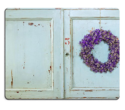 MSD Natural Rubber Gaming Mousepad Lavender flower wreath hanging on an old wooden vintage kitchen door IMAGE 22558786