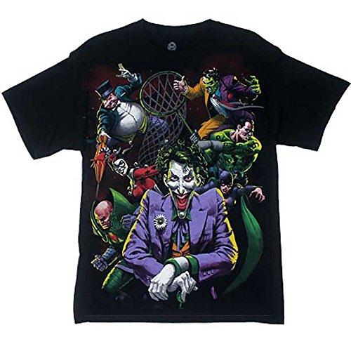 [Batman Villains Joker Riddler Penguin DC Comics T-Shirt (XL)] (Dc Comics Penguin Costumes)