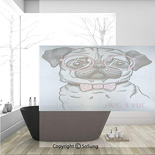 3D Decorative Privacy Window Films,Cute Pug with Pink Bow Tie Oversized Glasses Hand Drawn Domesticated Decorative,No-Glue Self Static Cling Glass film for Home Bedroom Bathroom Kitchen Office 36x24 I