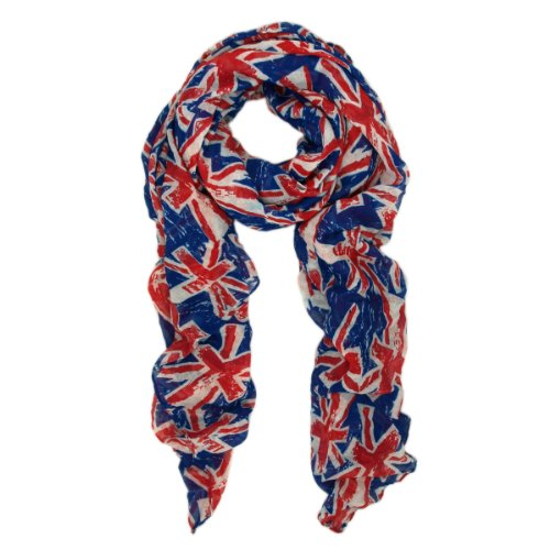 UK British Flag Union Jack Small Print Fashion Scarf, Blue