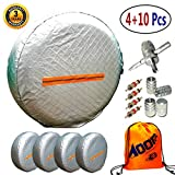 "Tire Covers for RV Wheel 4 Pack, Waterproof UV Reflective Safety Tire Protectors, Fits 26"" to 29"" Wheels, GIFT:Storage Bag,4 Tire Valve Cap,4-Way Valve Tool-10PC"