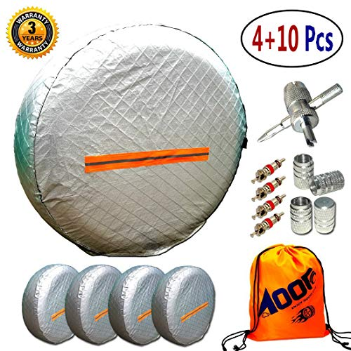 Heavy Canvas Wheel Duty Cover (Tire Covers for RV Wheel 4 Pack, Waterproof UV Reflective Safety Tire Protectors, Fits 26