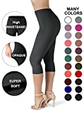 Sejora SATINA High Waisted Ultra Soft Capris Leggings - 20 Colors - Reg & Plus Size (Plus Size, Black)