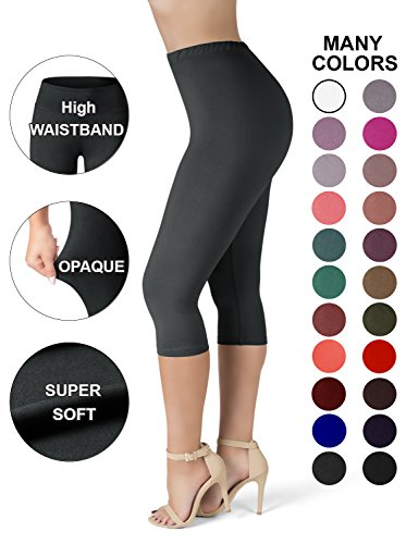 Sejora SATINA High Waisted Ultra Soft Capris Leggings - 20 Colors - Reg & Plus Size (Plus Size, Black) by Sejora