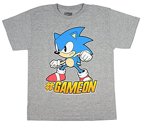 (Sonic The Hedgehog #GameOn Sega Video Game Boys T-Shirt X-Large Heather)