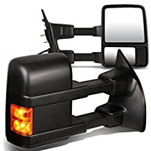 Ford Super Duty Pair of Black Textured Telescoping Manual Extendable + Amber Signal Side Towing Mirrors