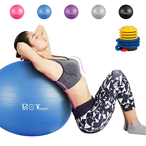 BST POWER Exercise Ball, 45-85cm Extra Thick Yoga Ball Chair, Anti-Burst Heavy Duty Gym Ball Stability Ball Birthing Ball with Quick Pump