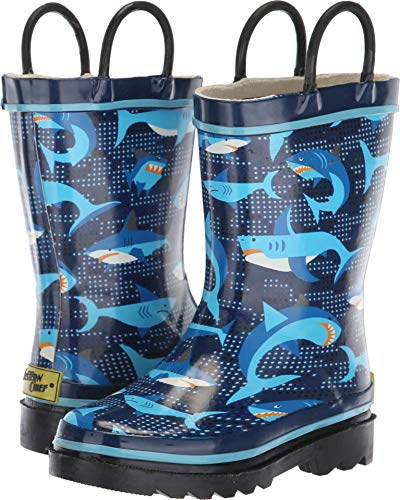 Western Chief Kids Boys Waterproof Printed Rain Boot with Easy Pull On Handles, Pixel Shark Camo, 7 M US Toddler