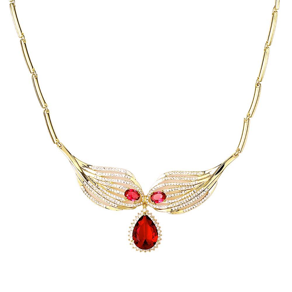 XYTANG Synthetic Ruby Cubic Zircon Alloy Pendant Necklaces for Womens and Girls