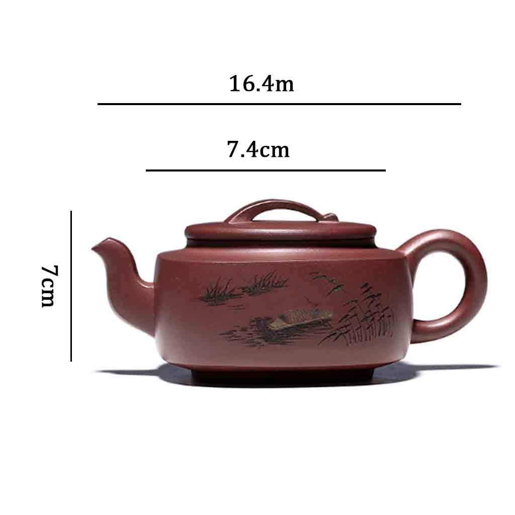 Teapot handmade large capacity teapot square tea set mixed pot kung fu teapot set non-ceramic full hand-painted teapot (Color : BROWN, Size : 16.4X7CM) by GQQ (Image #7)