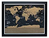 detailed map of usa - World Map Scratch by Banjali Travel - Large Black Poster with Detailed US States - Best Amazon gift as a wall decoration or to keep track by scratching off the country or a state you just visited
